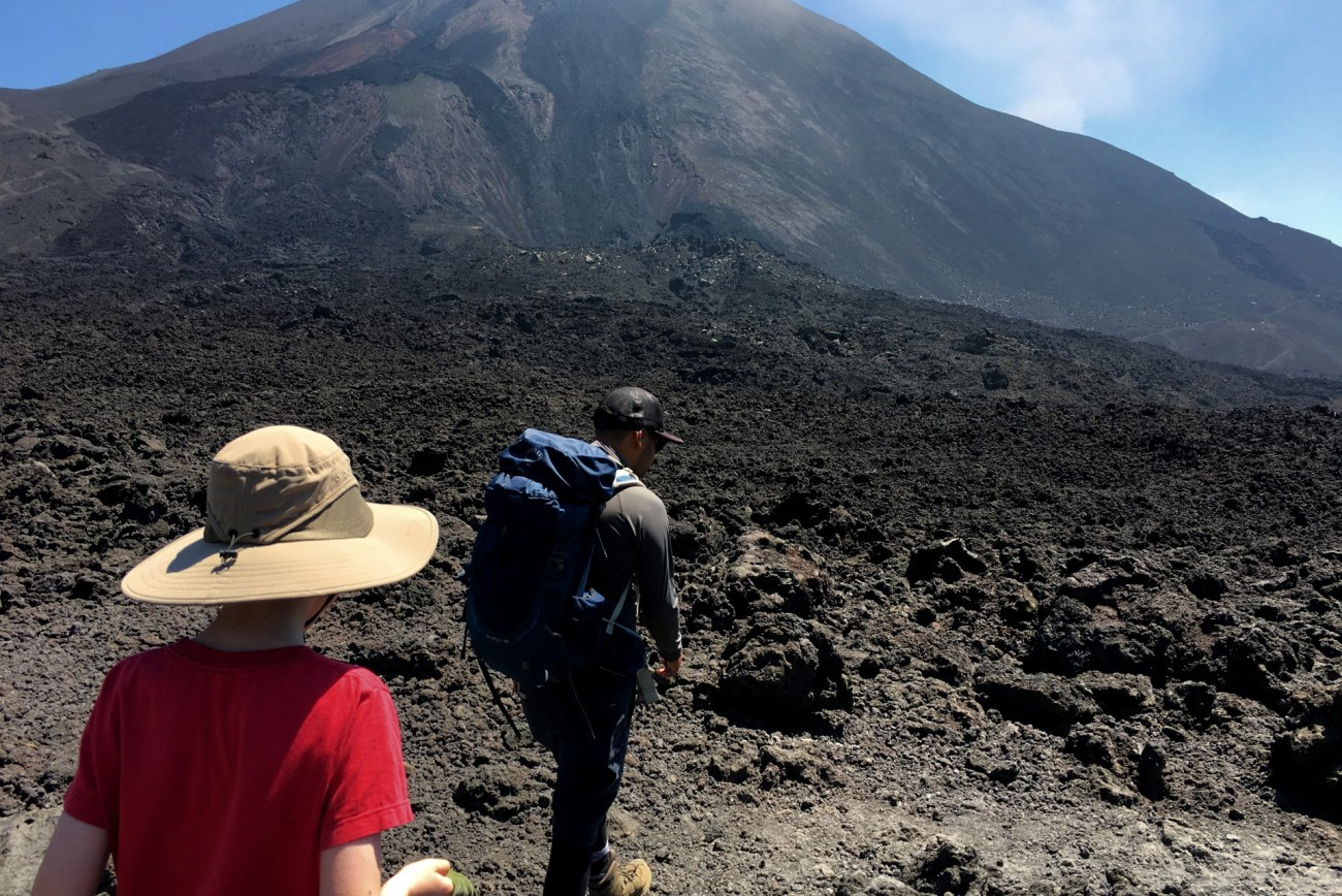 Hiking on lava in Guatemala