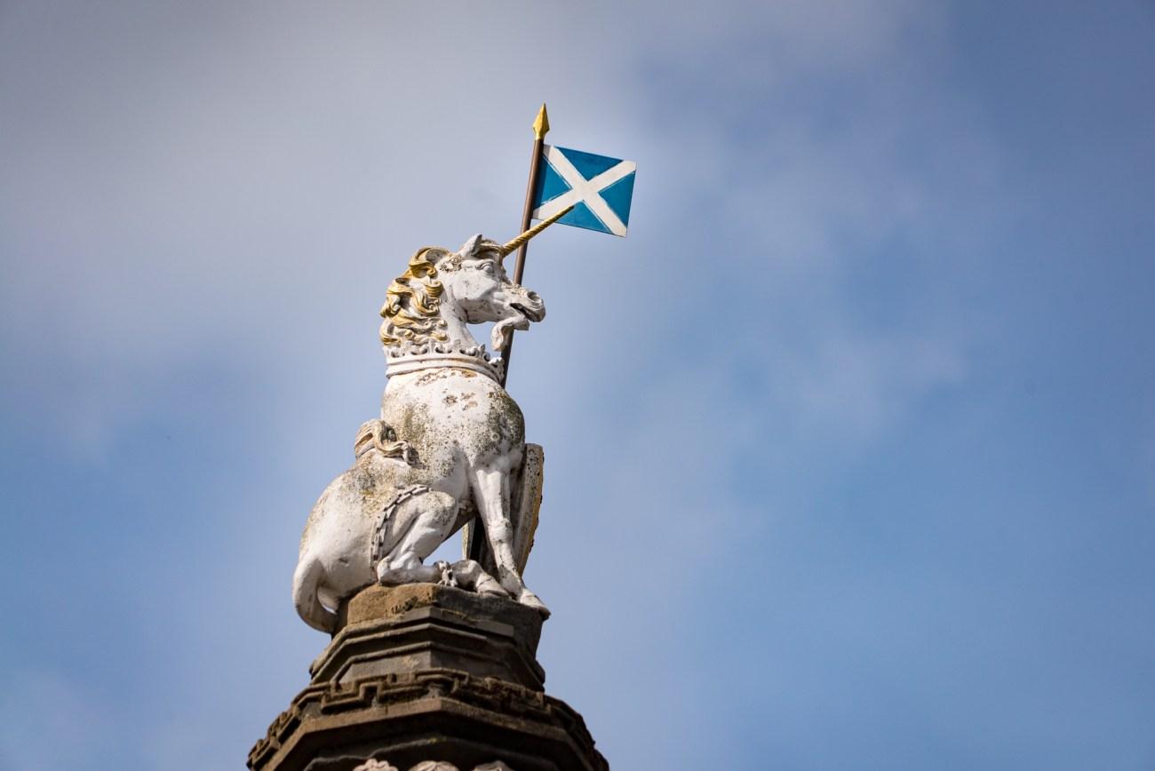 A unicorn and Scottish flag