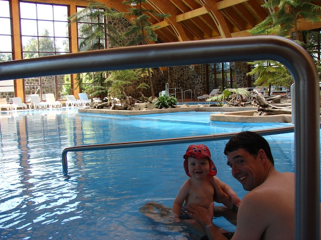 Henry and Anders in the indoor pool.