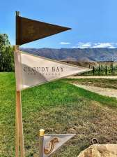 Small Pennant Flags on a pole at the entrance to the Cloudy Bay Vineyard in Central Otago, NZ