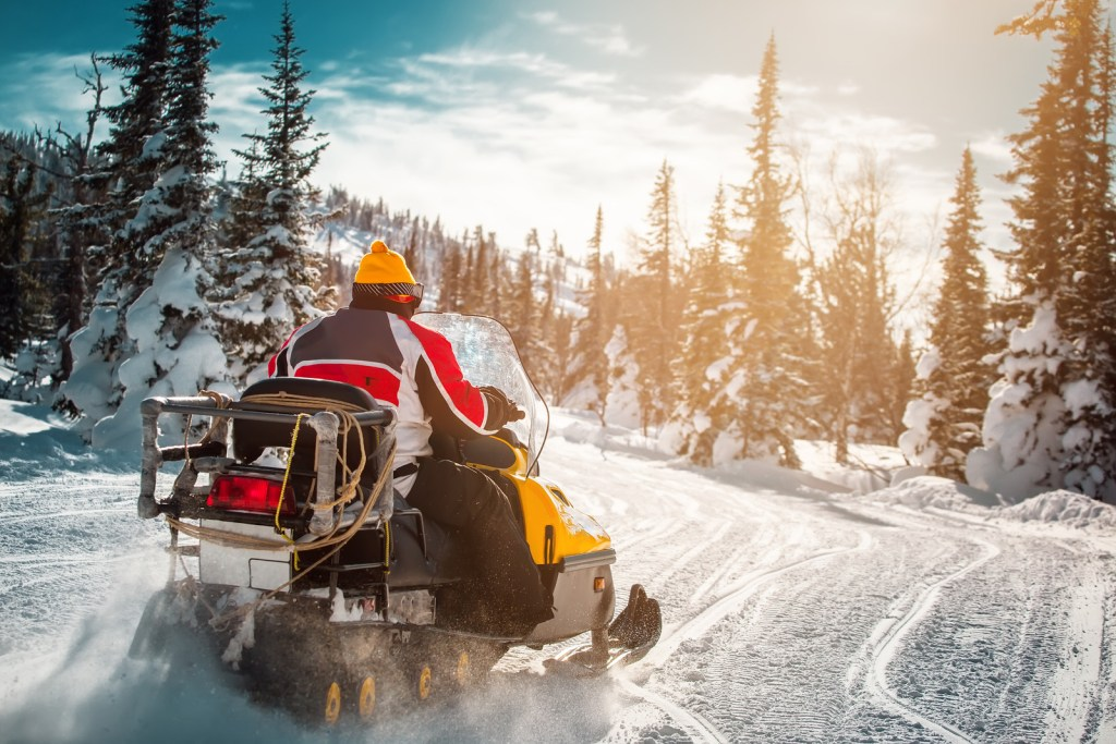 snowmobile in mountains