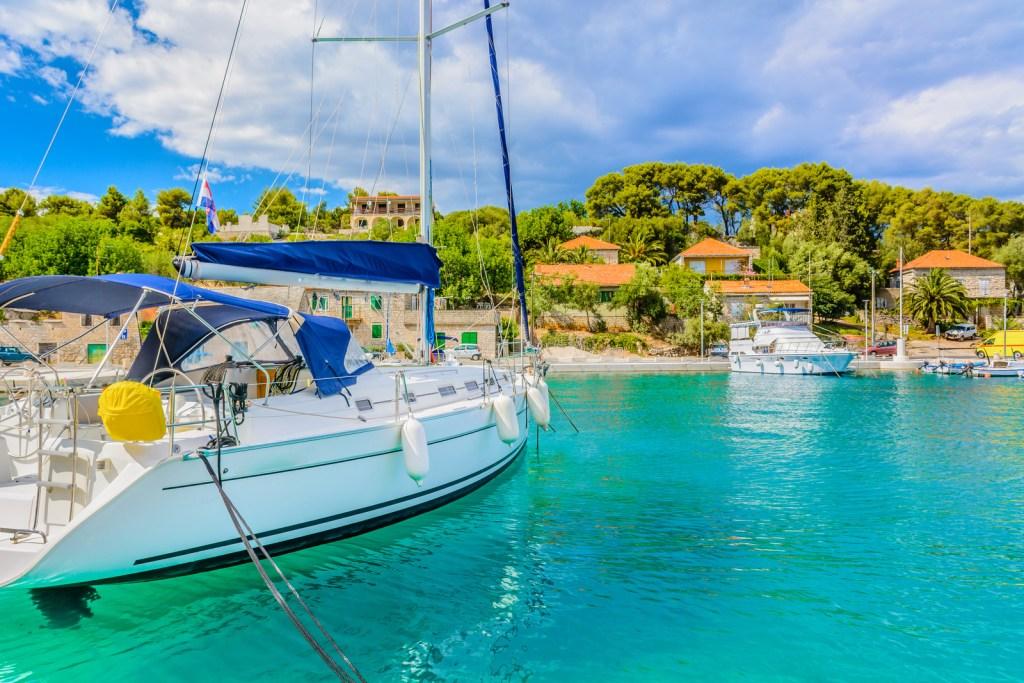 Scenic mediterranean bay Croatia.