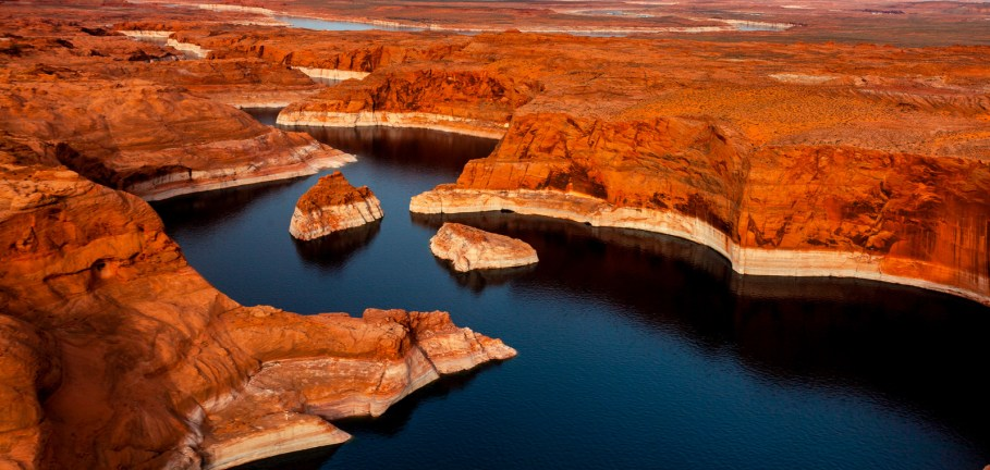 Aerial view of Colorado River and Lake Powell near Page, one of the best small towns in Arizona.
