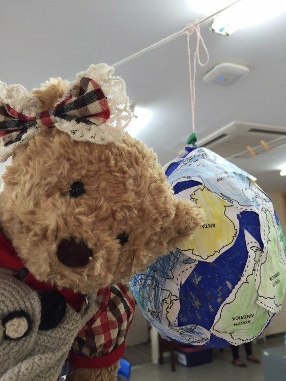 Tessie really liked the globes from our 'How the world works' unit