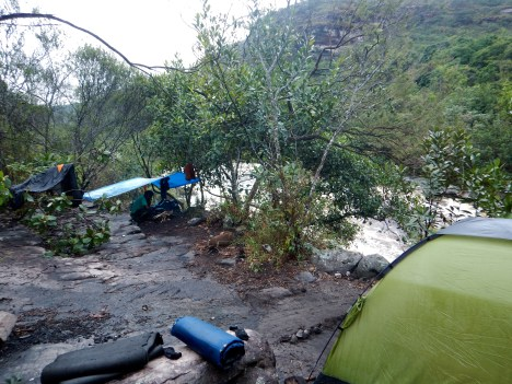 Day 3 Campsite (Note Surging River Post-Rainstorm)