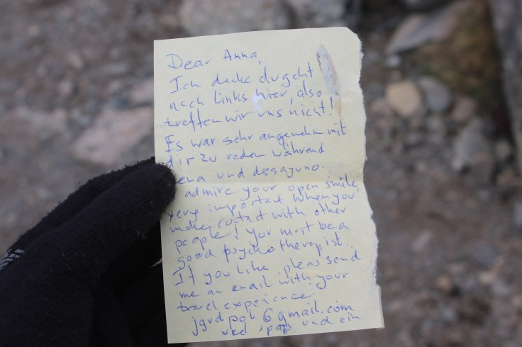Love Letter That We Found with Friends Left for Another Trekker Along the Trail