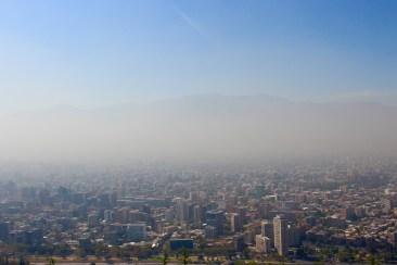 Hazy View of Santiago from top of Cerro San Cristobal