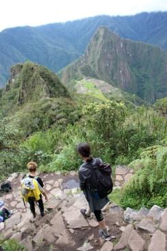 Climbing Down Machu Picchu Mountain