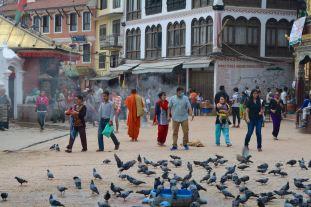 Pedestrians & Monks on the Streets of Kathmandu