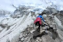 Entering Base Camp Via Rocky & Icy Steps