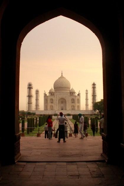 Entering the Taj Mahal Grounds at Sunrise