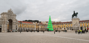 city square with Christmas tree