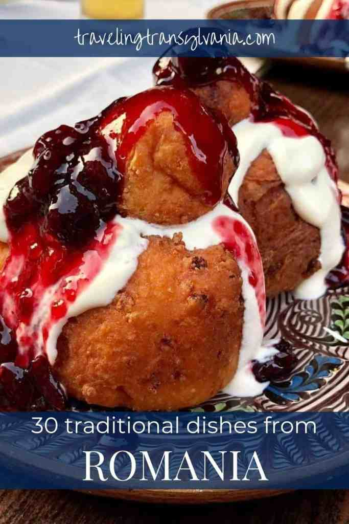 Pinterest graphic - plate of papanasi with text '30 traditional Romanian foods to try'