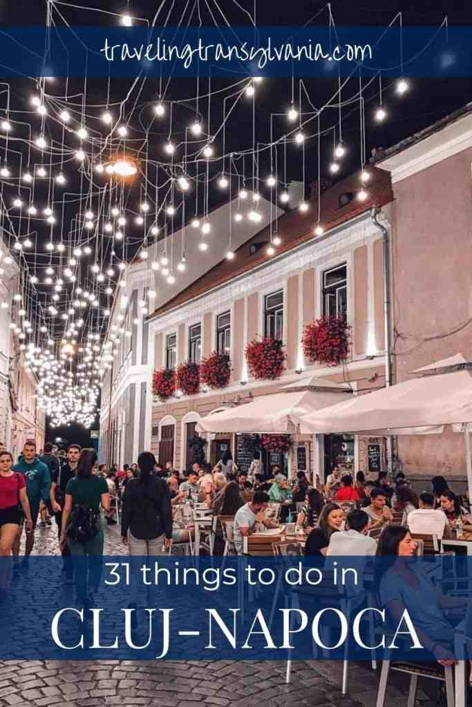 Pinterest graphic - Piata Muzeului with text 31 things to do in Cluj Napoca