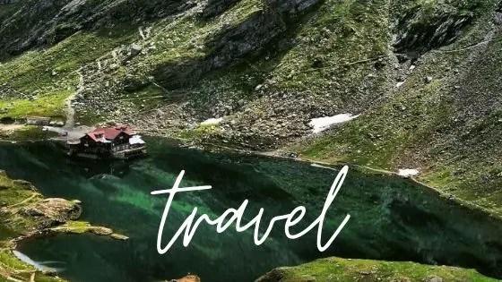 Travel graphic - cottage on Balea Lake in Transylvania