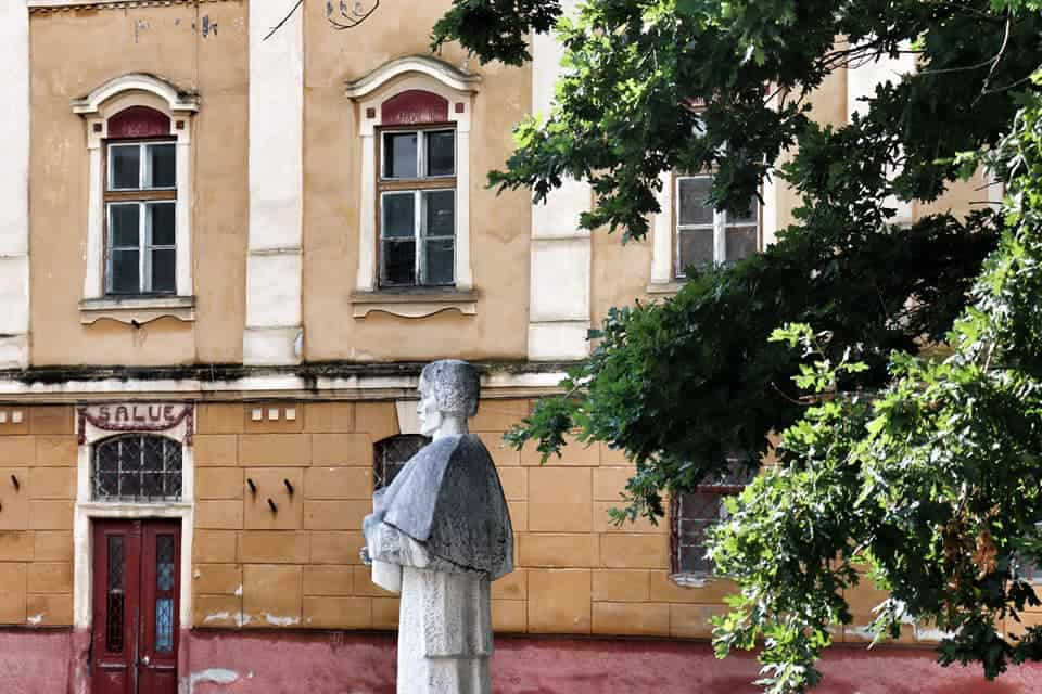 Statue seen outside of Saint Ursula Church in Sibiu, Romania
