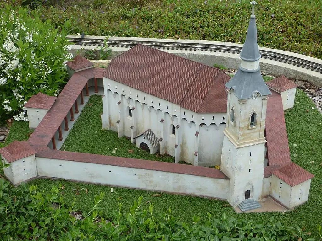 Darjiu fortified church in Transylvania seen from above.