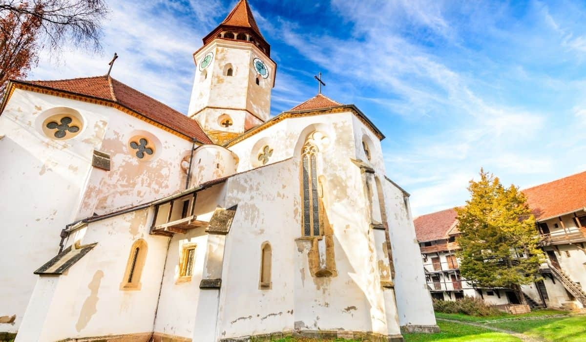 The stunning white fortified church of Prejmer, one of the most beautiful fortified churches of Transylvania.