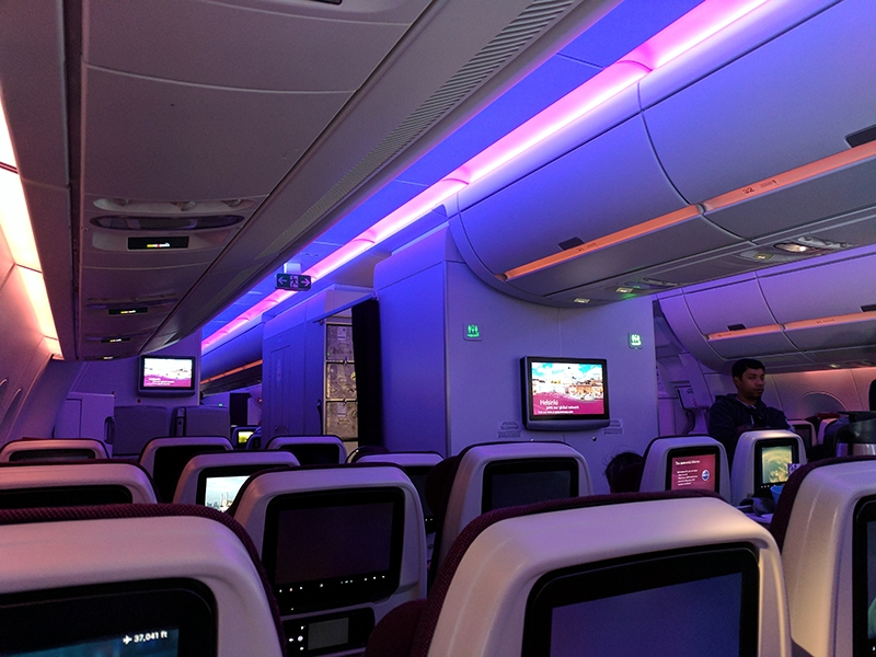 Qatar PHL DOH Cabin Lighting