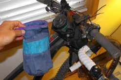Old, huge chalk bag needs to get converted to another feed bag.