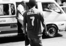 Ronaldo trying to catch the bus and not get run over