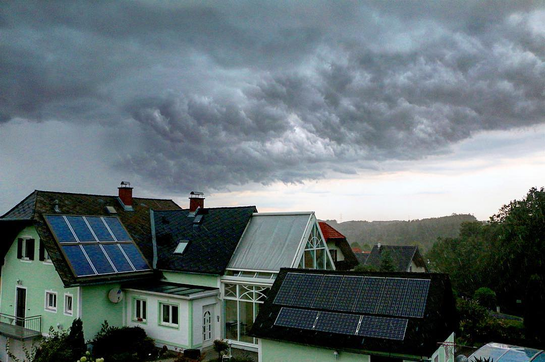 Incredible cloud formations before a hail storm in Graz Austriahellip