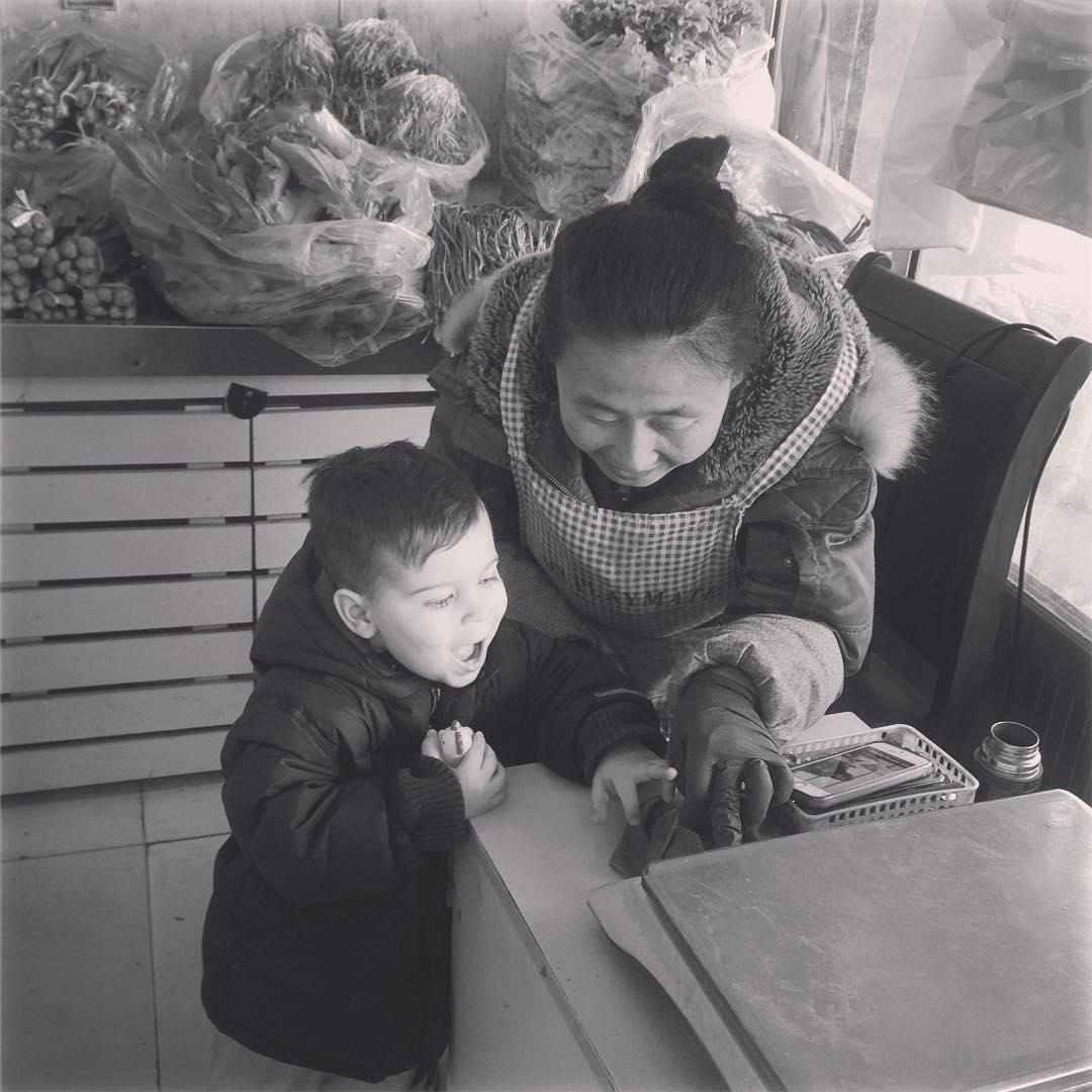 Today in Qingdao  Eli teaches our local veggie ladyhellip