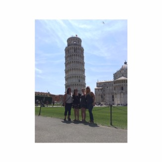 The girls and I in front of the tower of Pisa