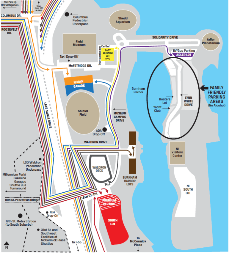 Soldier Field & Chicago Bears Parkinglot map
