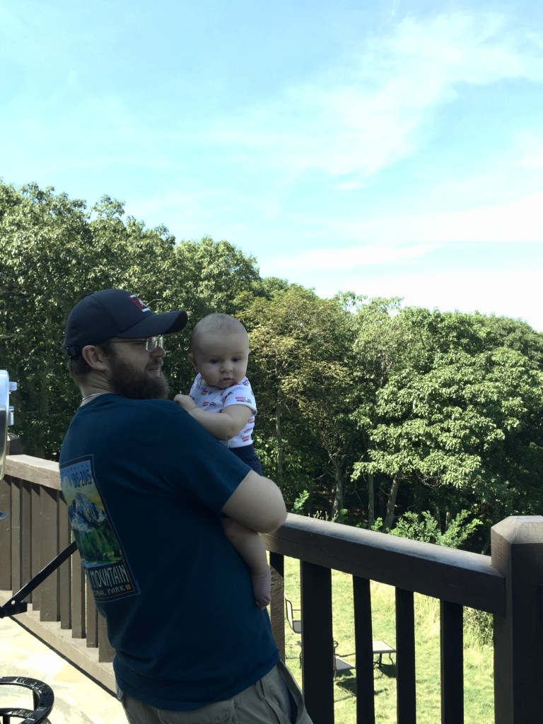 Baby with father at Shenandoah National Park travel with small children