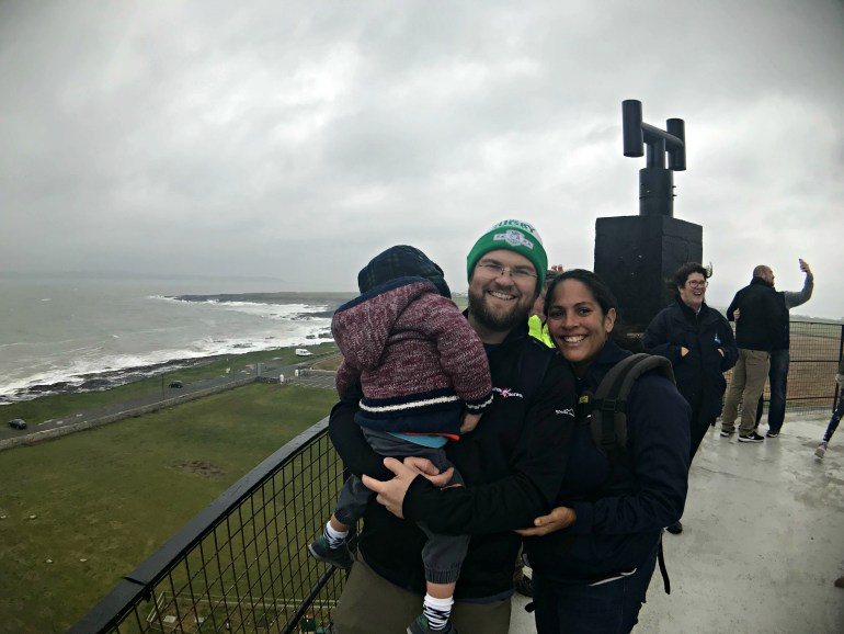Family with toddler at top of Hook Head Lighthouse