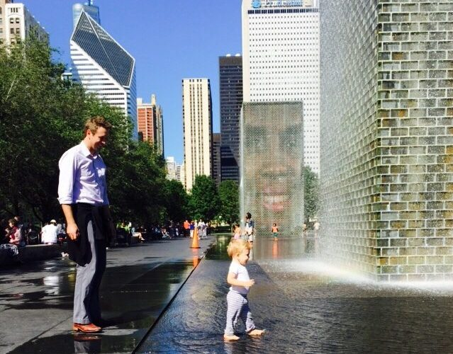 Toddler playing in Crown Fountain downtown Chicago-Things to do Outdoors in Chicago