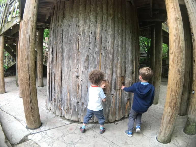 Kids playing at the Tree House Exhibit at the Frederic Meijer Gardens and Sculpture Park