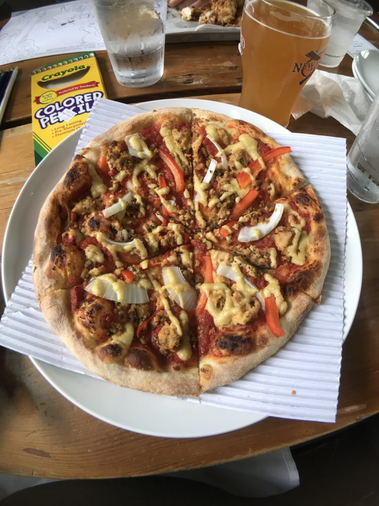 Vegan pizza at New Holland Brewing in Grand Rapids