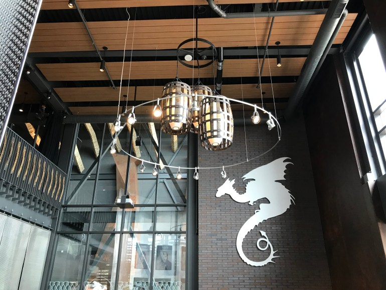 Ceiling with rustic light fixtures at New Holland Brewing in Grand Rapids Michigan, New Holland Brewing with Kids