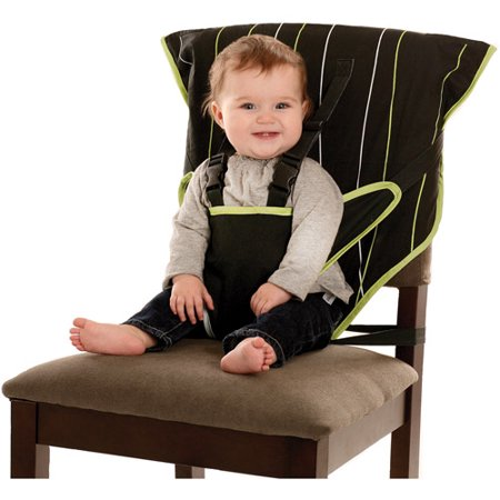 Baby sitting in a Cozy Cover Easy Seat Portable Highchair