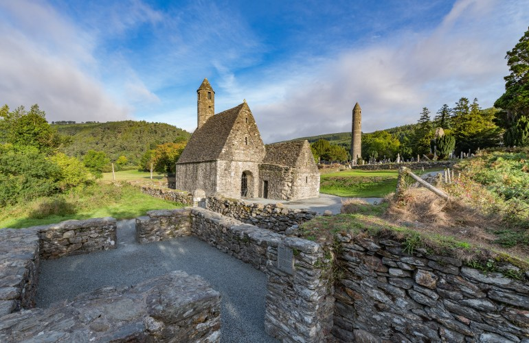Glendalough in the Wicklow Mountains, photos of the monastic settlement near the entrance