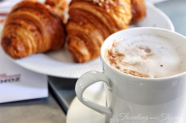 La Petite Table Dbayeh Breakfast Croissant Hot chocolate