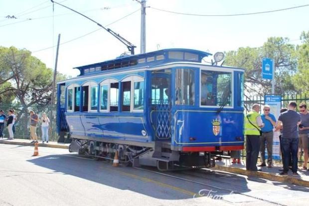 Barcelona Tibidabo Transport Blue Tram