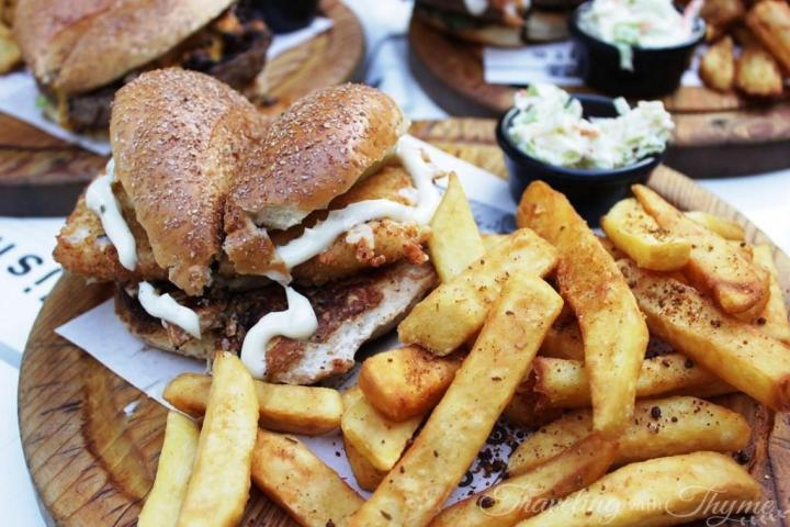 Sandwiched Diner Burger Chicken Aioli Mozzarella