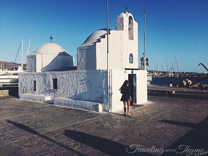 Small White Church Aegina Harbor