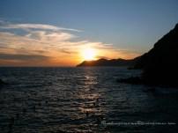 Silhouette of La Via Dell'Amore (Lovers walk) in Riomagiore (Cinque Terre, Italy)