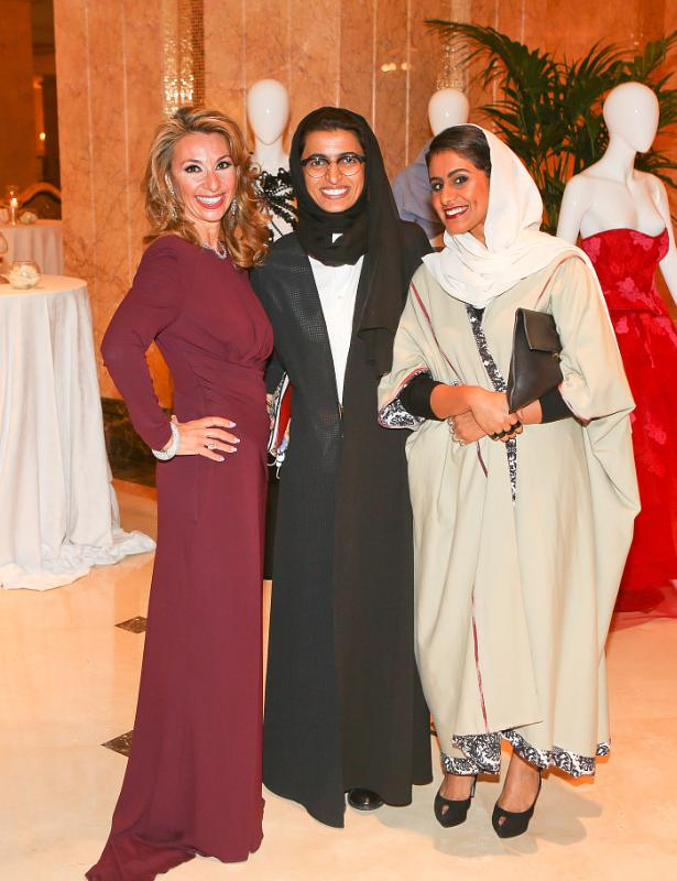 Amanda Gutkin, Noora Al Kaabi and Alia Al Qassimi at Style.com/Arabia and Farfetch Event