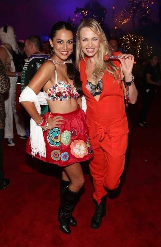 Playmates Raquel Pomplun and Irina Voronina at Playboy Mansion's Annual Halloween Bash