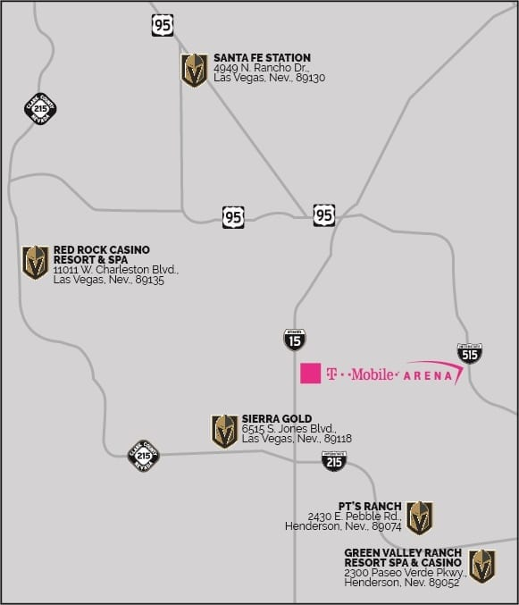 Golden Knights Express Pickup Locations