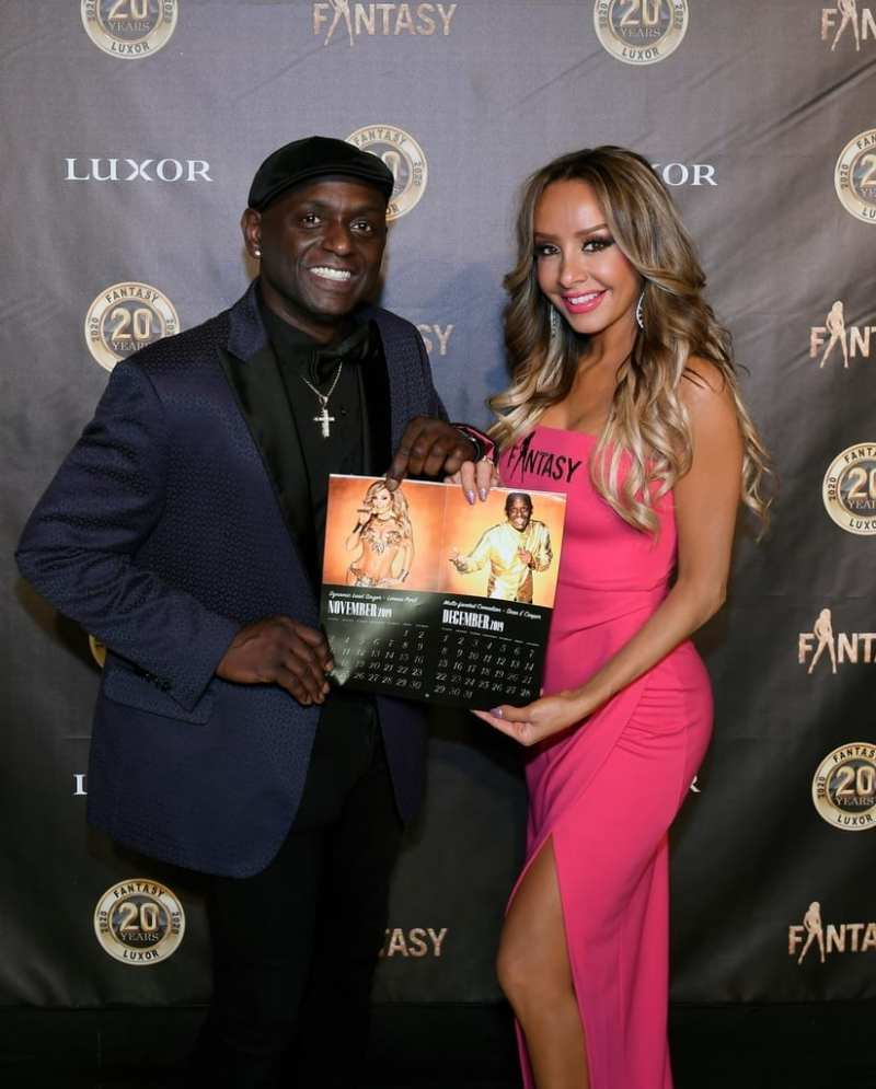 Lorena Peril and Sean E Cooper with Calendar