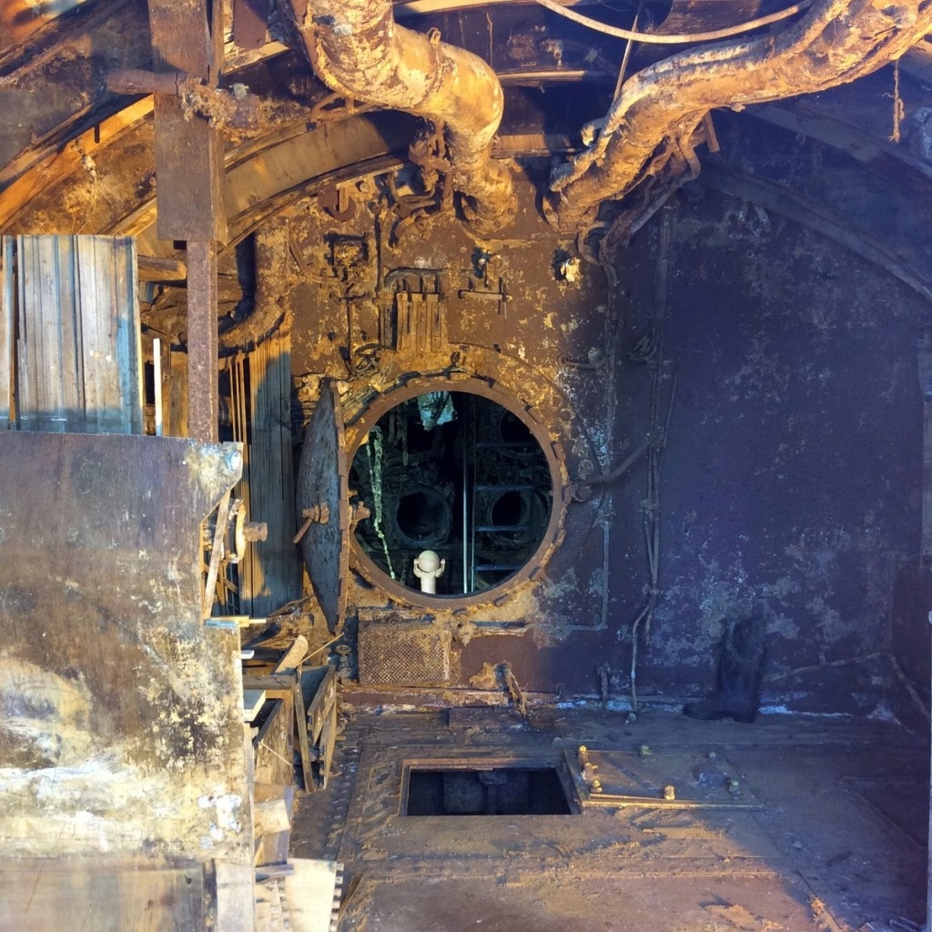 The U-Boat Story, Wirral - showing the water damage when she was sunk. From a travel blog by www.traveljunkiegirl.com