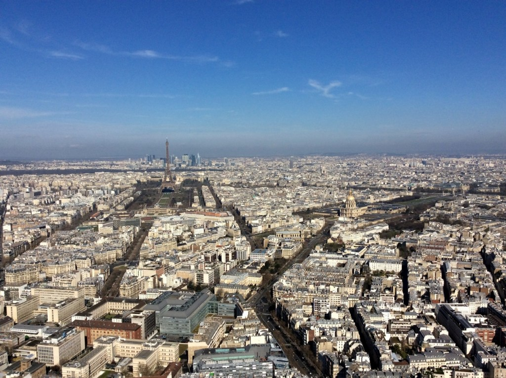 View from the top of the Montparnasse Tower, Paris; from a travel blog by www.traveljunkiegirl.com