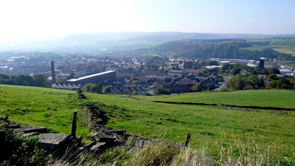 View of Haslingden from the walk up to The Halo, Rossendale, Lancashire
