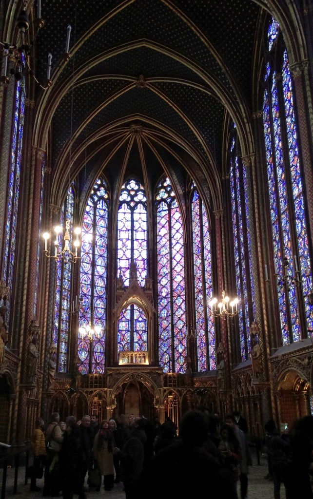 Sainte-Chapelle's stunning stained glass, Paris; from a travel blog by www.traveljunkiegirl.com